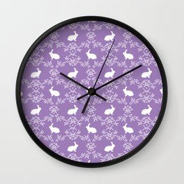 Rabbit pet silhouette floral rabbits bunny gifts cute minimal pets purple Wall Clock