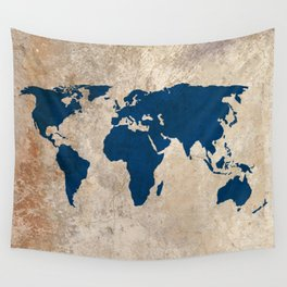 rustic world map wall tapestry