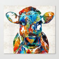 Canvas Prints featuring Colorful Cow Art - Mootown - By Sharon Cummings by Sharon Cummings