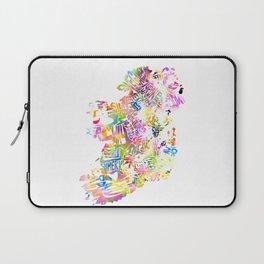 Typographic Ireland - Multi Watercolor rainbow map Laptop Sleeve