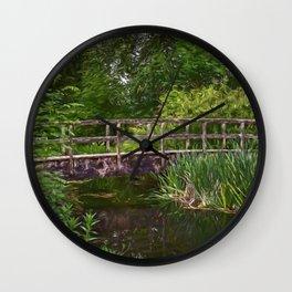 River Footbridge Impressionist Style Wall Clock