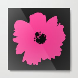 Pink Peony (Black) Metal Print