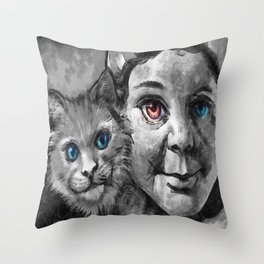 The Girl And The Pussy Cat Throw Pillow