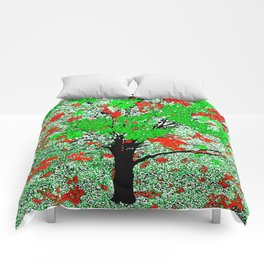 TREE RED AND GREEN LEAF Comforters