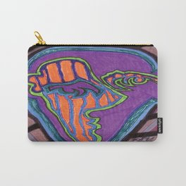 Purple and Orange Face on Stripes Carry-All Pouch