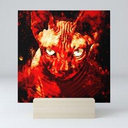 sphynx cat from hell ws Mini Art Print