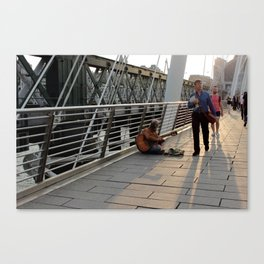 Hungerford Bridge Busker Canvas Print