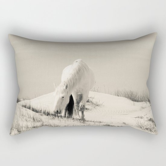 Wild Horses 7 - Black and White Rectangular Pillow