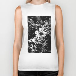 Ink drawing of camomiles, black and white Biker Tank