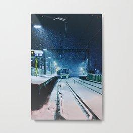 Shimotakaido Station Snow Metal Print