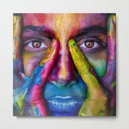 Colorful Face Paint Portrait Metal Print