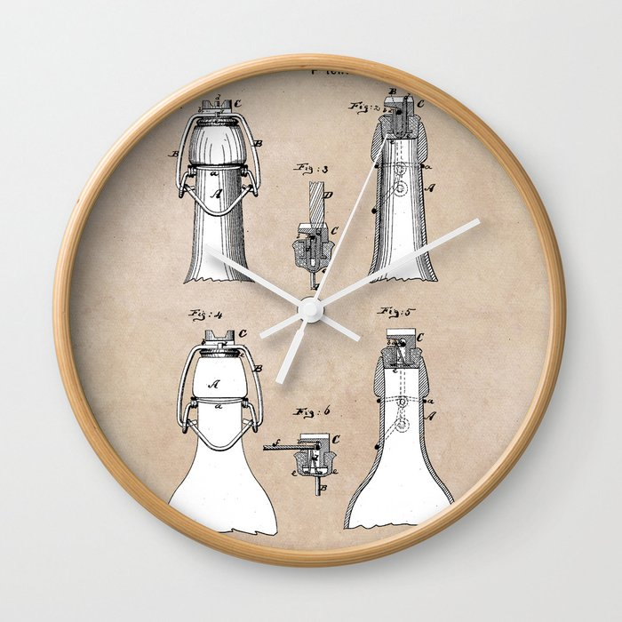 patent Putnam Bottle Stopper and Fastener Wall Clock