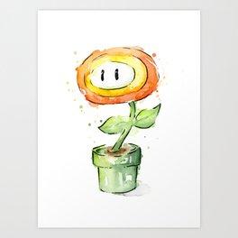 Fireflower Mario Watercolor Art Print