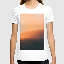 Sepia Orange Sunset Mountain Hills Landscape Photo T-shirt