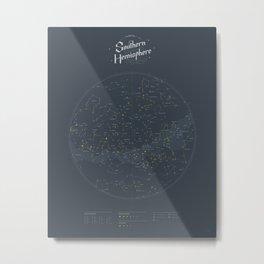 The Night Sky Map - Southern Hemisphere Metal Print