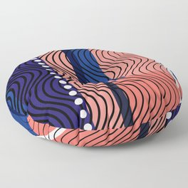 Deep Blue Waves on Coral Shores Floor Pillow