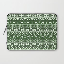Greyhound fair isle christmas holidays pattern green and white dog gifts Laptop Sleeve