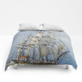 Clipper Ship Three Masted Sails Comforters