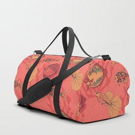 Fishes on living coral background Duffle Bag