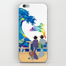 Hokusai People seeing Big Wave & the Angel riding a dolphin iPhone Skin