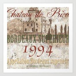 Bordeaux Blanc 2 Art Print