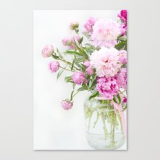 Shabby Chic Romantic Cottage Pink Peonies In Jar Canvas Print