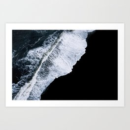 Waves crashing on a black sand beach – minimalist Landscape Photography Art Print