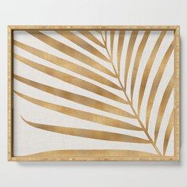 Metallic Gold Palm Leaf Serving Tray