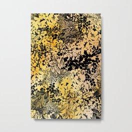 blanket of leaves in warm yellow Metal Print
