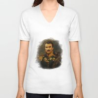 replaceface V-neck T-shirts featuring Tom Selleck - replaceface by replaceface