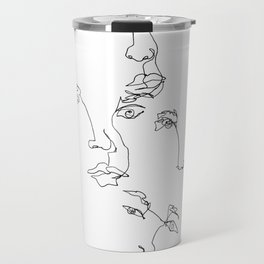 Faces one line blind drawing - Lois Travel Mug