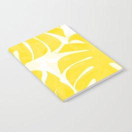 Mellow Yellow Monstera Leaves White Background #decor #society6 #buyart Notebook