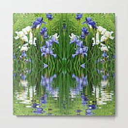 PURPLE IRIS WATER GARDEN  REFLECTION Metal Print
