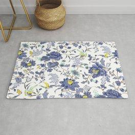 dainty cottagecore floral pattern - blue/purple Rug
