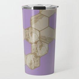 Hexagon flower and leaf in lilac Travel Mug