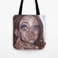 gemma correll Tote Bags featuring Sugar Skull by Gemma Pallat by ToraSumi