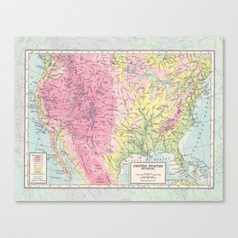 Physical Map of the United States Canvas Print