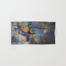 Star map version: The Milky Way and constellations Scorpius, Sagittarius and the star Antares. Hand & Bath Towel