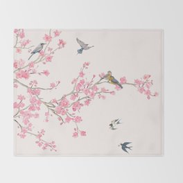 Birds and cherry blossoms Throw Blanket