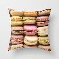 macaron Throw Pillows featuring Macarons I by SouvenirPhotography