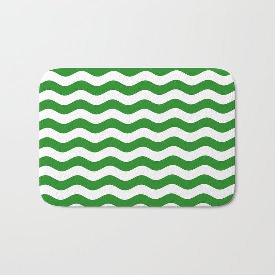 Wavy Stripes (Forest Green/White) Bath Mat