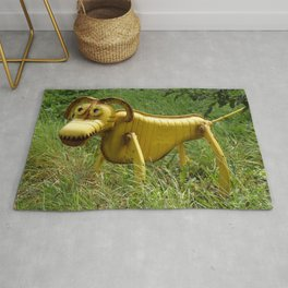 Robot Dog walk Yellow Metal Pet Funny recycling sculpture Trash Art Outdoor photography Rug