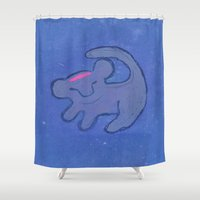 simba Shower Curtains featuring simba by studiomarshallarts