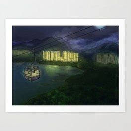 Night Cable Car in Hong Kong Art Print