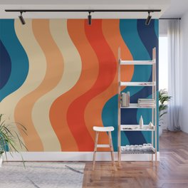 70's and 80's retro colors curving stripes Wall Mural