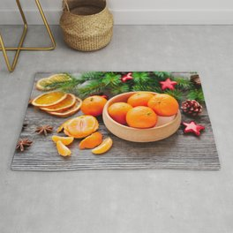 Pictures New year blurred background Mandarine Bow Rug