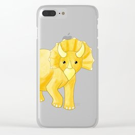 Sunny Triceratops Clear iPhone Case