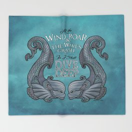 Dive Deep - Silver Dolphins Throw Blanket