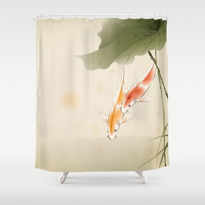 Koi fishes in lotus pond shower curtain by oriartiste for Koi pond gift ideas