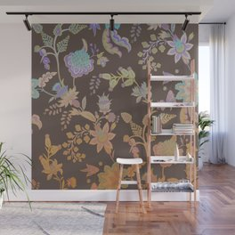 Chateau Brown Chinoiserie Decorative Floral Motif Chintz Wall Mural